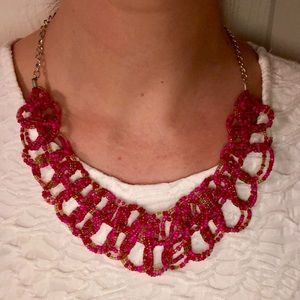 Handcrafted Pink Bead Statement Necklace